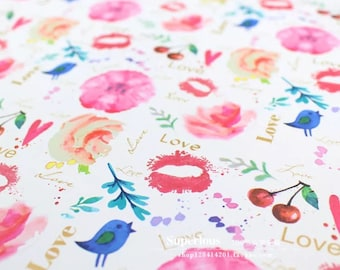 Gorgeous, luxury gift wrap in a cherry, bird and flower design per sheet.