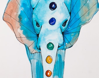 The Emperor: original tarot watercolor, elephant with chakras