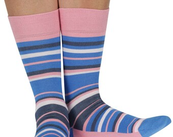 Random Stripe bamboo organic crew socks in pink | seriouslysillysocks