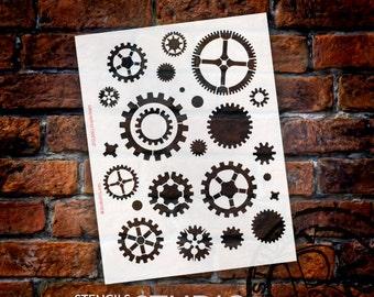 "Simple Gears Stencil - 8 1/2"" x 11""- STCL368 - by StudioR12"