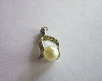 Antique Faux Pearl & Rhinestone Necklace Pendant