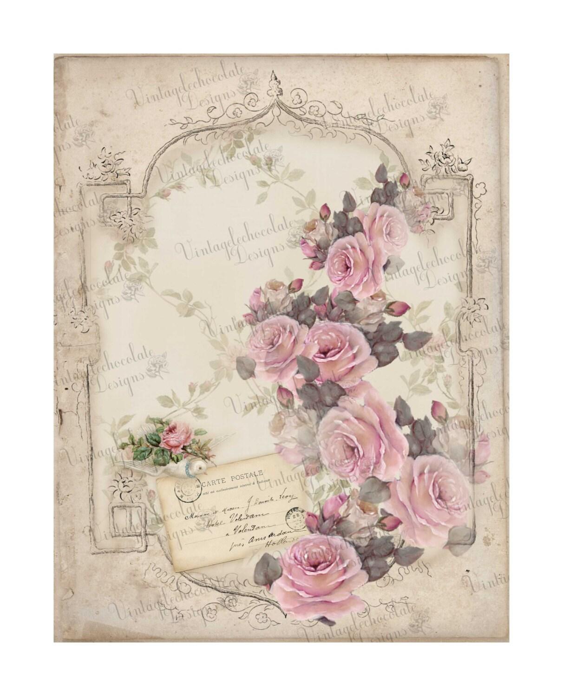 Digital Pink Rose Paper, Digital Paper, Vintage Rose ...