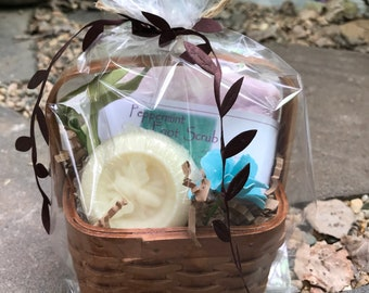 Peppermint Foot Scrub Handmade Cold Process Soap - Chamomile Lotion Bar Gift Basket / Mother's Day Gift Set / May Day Basket / Soap Gift Set