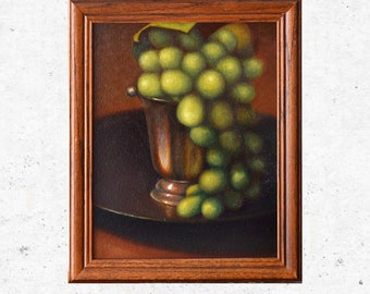 Grapes In A Silver Cup - Original Still Life Oil Painting