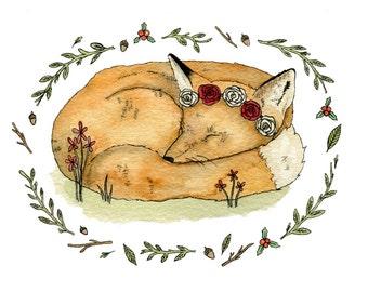 Fox Illustration Watercolour Art Print