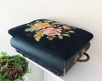 SALE / Vintage Victorian Black Floral Needlepoint Foot Stool with Brass Handles and Stud Details