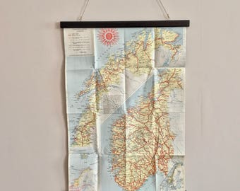 Vintage 1953 map of the Norway, beautiful and a perfect for decorate your wall with