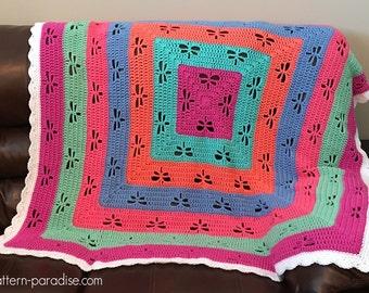Crochet Pattern Afghan, Throw, Blanket, Baby Blanket, Baby Layette,  Radiating Dragonflies PDF 16-E