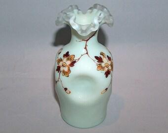 7948: Antique Thomas Webb Enameled Art Glass Vase c1900 at Vintageway Furniture