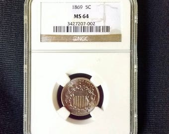 1869 Shield Nickel NGC Rating MS64, Uncirculated Collectible Coin