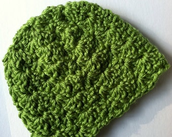 Crochet Baby Hat, Apple Green Baby Hat, Newborn Hat, Crochet Baby Hat, Newborn Baby Hat, Green Infant Hat, Crochet Shell Hat