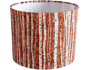 Birch lamp etsy silver birch lampshade orange ukeuus pendant ceiling or table lamp mozeypictures Gallery