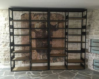 Industrial furniture library steel and wood blend