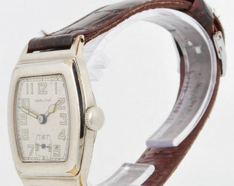 Hamilton vintage wrist watch, grade 987-F, 17 Jewels, white gold filled Hamilton Raleigh case