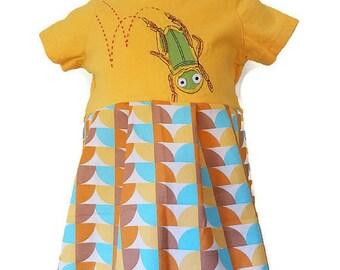 Girls Grasshopper Handmade Dress or Top, Size 6 months, 6-9 Months, Bugs Handmade Dress, Infant Dress by We Wear What We Want!