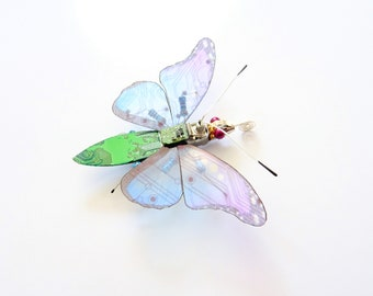 Mini Bug: The Electric Blue Butterfly, Circuit Board Insect by Julie Alice Chappell
