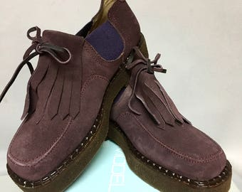 DEADSTOCK 1990's Philippe Model Designer CHUNKY Platform Shoes / Plum Suede 90s Shoes / UNWORN / size 6 1/2