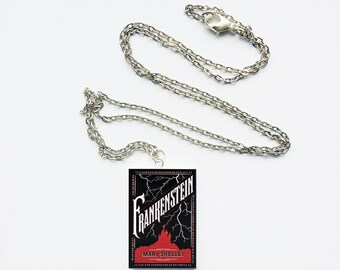 Frankenstein mini book necklace