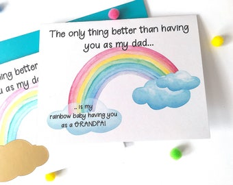 Rainbow Baby Pregnancy Announcement to Dad- Pregnancy Scratch Off - New Grandpa - only thing better than having you as my daddy - RAINBOW