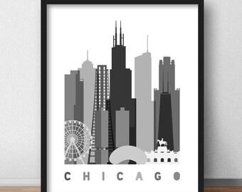 Chicago Skyline , Chicago Print Scandinavian Poster, Chicago Mid Century Modern, Chicago Decor, Chicago Pop Art Print Minimalist (G0107)