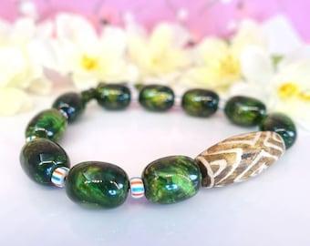 Green tiger eye nugget wood adjustable bracelet, forest green iridescent nugget tribal string bracelet, mens dark green bracelet