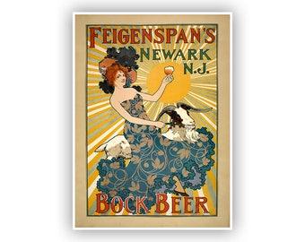 Bock Beer Advertising Poster Newark NJ Brewery Vintage Style Fine Art Print 1800s