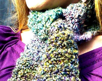 Thick Warm & Soft Purple Crocheted Scarf