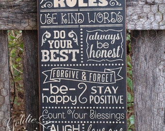 Family Rules 2, Chalkboard Art, Typography,Word Art, Primitive Wood Wall Sign