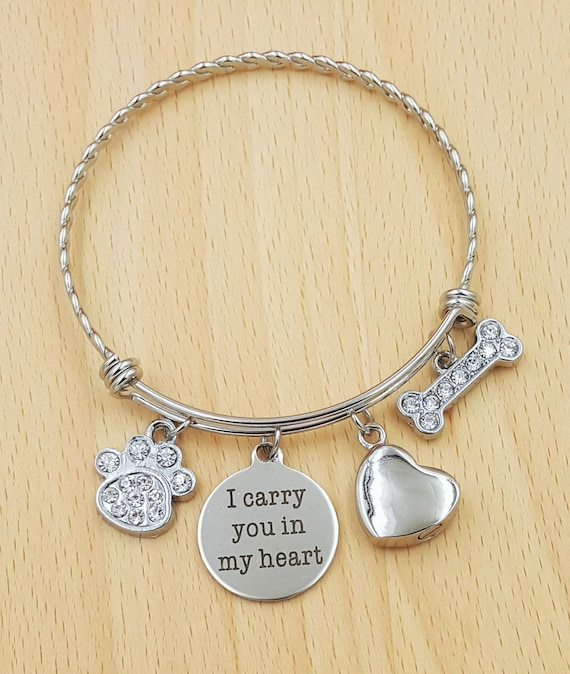 name pet memorial christmas gifts paw personalized bangle dog lover bracelet print gift