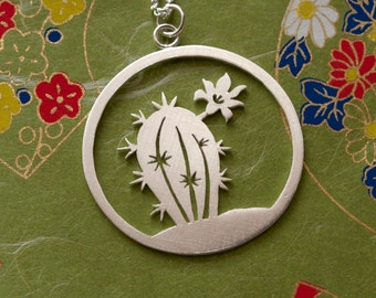 Blooming Cactus - Disc Pendant Necklace - Sterling Silver