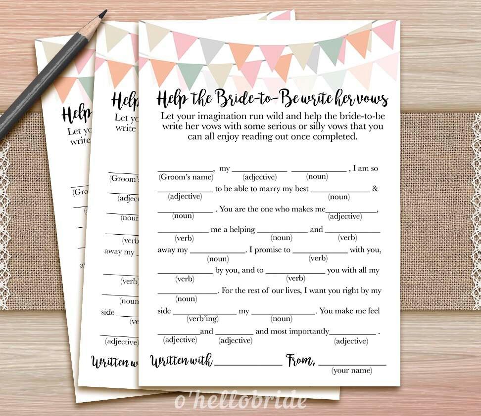 Ayuda la novia escribe sus votos juego despedida de soltera