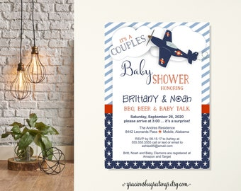 Airplane Baby Shower Invitation, Couples Baby Shower, BBQ Beer & Baby Talk Baby Shower, Military Baby Shower, Air Force Baby Shower, Planes