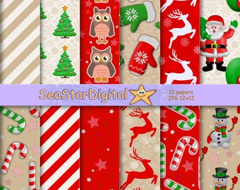 Winter digital paper pack download. Printable scrapbook pattern with snowman, snowflakes and Santa. Holiday background. Christmas, xmas.
