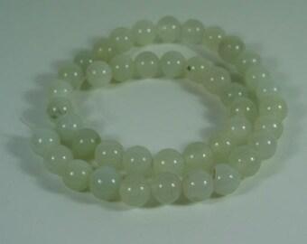 7mm Green Chalcedony Round Beads