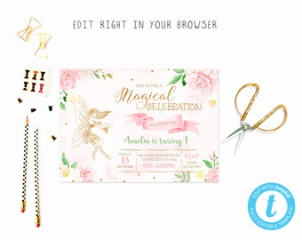 Flower fairy party tem, TRY BEFORE you BUY, instant download, edit yourself invitation,Template Editable