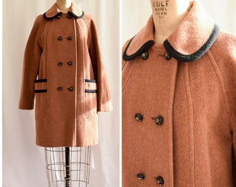 1980s Coat | Coppertown | Vintage 80's Caramel Wool Winter Coat Wide Black Piping Double Breasted Coat Patch Pockets Collegiate Size M