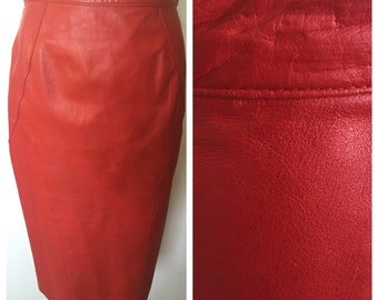 Vintage 80's Red Leather High Waisted Pencil Skirt