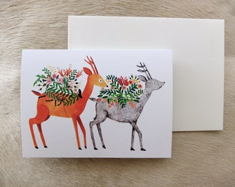 Deer, deer greeting card / invitation card - Original Illustration by Nana Sakata
