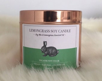 Lemongrass Soy Candle made with Essential Oil - vegan Candle natural and cruelty free - citrus fresh candle - Bio plastic free P&P