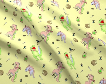 Dinosaur Breakfast Fabric - Larageorgine Breakfast Print-Ed By Larageorgine - Dinosaurs Waffles Cotton Fabric By The Yard With Spoonflower