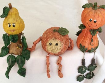 Set of (3) Vintage Resin Peach, Pear and Pumpkin fruit Shelf Sitters Kitchen decoration figurines Collectible