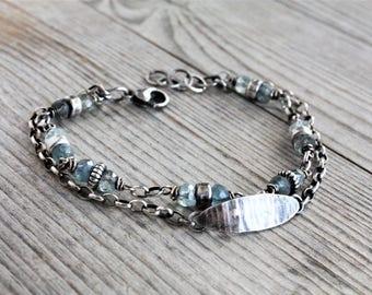 Aquamarine bracelet, oxidized sterling silver bracelet, raw silver boho bracelet, rustic silver gemstone bracelet, aquamarine jewelry