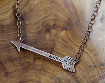 Custom Copper Arrow Necklace & Chain E0380b