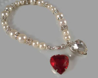 White Pearl And Heart Bracelet Valentine's Day Gift Swarovski Pearl Jewelry Heart Jewelry Gift For Her