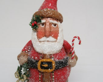 Paper Mache Santa - Folk Art Santa - Primitive Santa - Santa sculpture