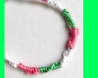 Handmade Friendship Bracelet  Watermelon Green Light Pink White -Limited Edition