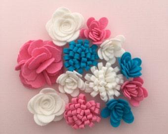 Handmade Wool Felt Flowers, Hot Pink, White, and Blue