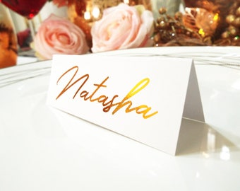 Rose Gold Foil Place Cards. Real Foil Silver Wedding Tented Name Cards. Tented Wedding Table Cards.