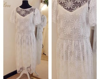 Short Lace wedding Dress, 1970s wedding dress, Lace wedding Dress, tea Length wedding Dress, Quirky, Informal, Boho, UK 12/14, US 10/12
