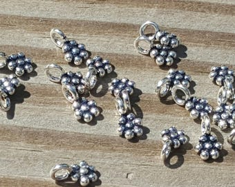 10 Pieces Genuine 925 Bali Sterling Silver Drops 7mm with loop Daisy Beads